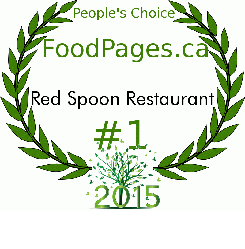 Red Spoon Restaurant FoodPages.ca 2015 Award Winner